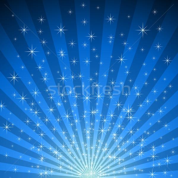Abstract blue star burst vector background.  Stock photo © lenapix
