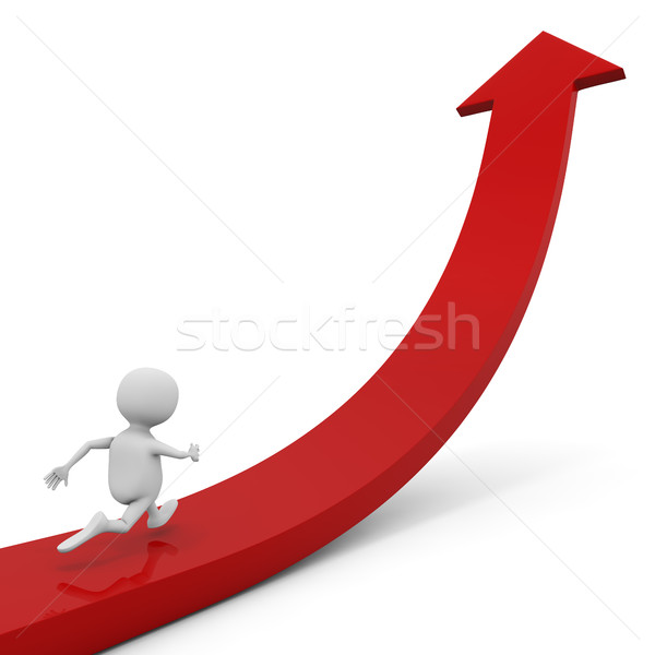 3D white man running up the red ascending arrow Stock photo © lenapix