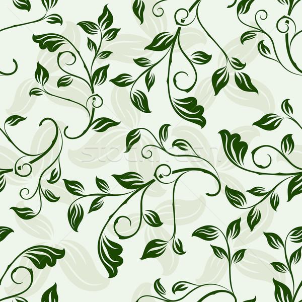 Seamless green floral spring vector background. Stock photo © lenapix
