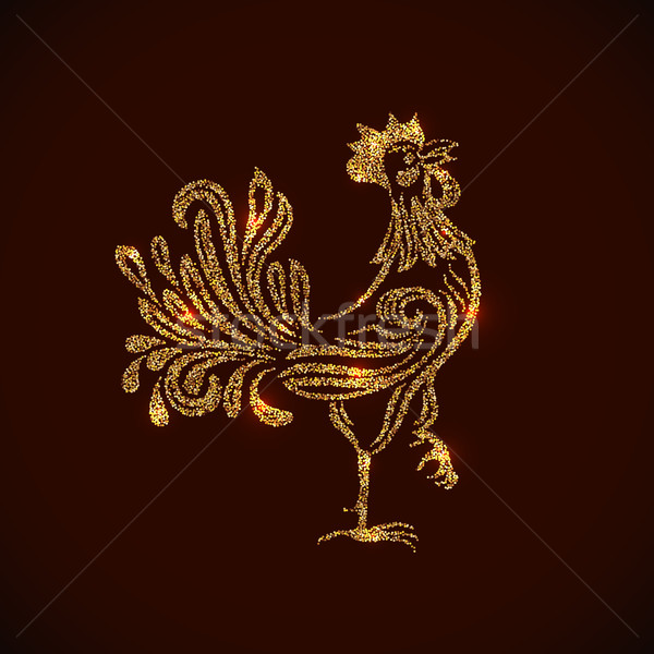 Gold rooster shape tinsel placer vector card. Stock photo © lenapix
