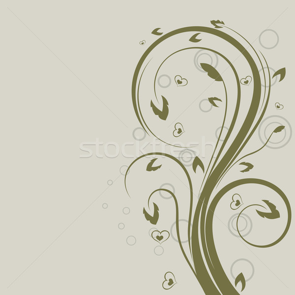 Green swirly floral vector design element with copy space. Stock photo © lenapix