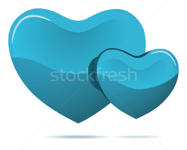 Two cyan hearts isolated on white background Stock photo © lenapix