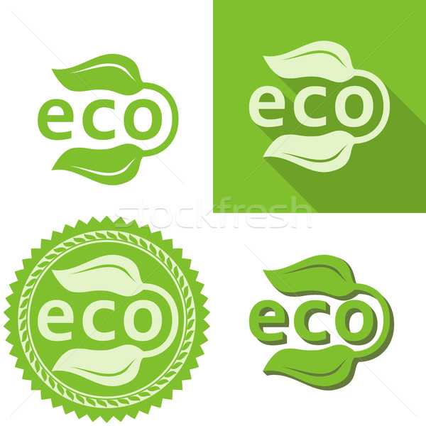зеленые листья Эко знак вектора шаблон любви Сток-фото © lenapix