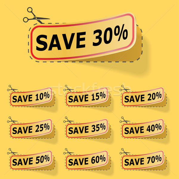 Discount yellow vector labels with red frame. Stock photo © lenapix