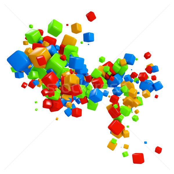 Colorful 3D cubes flow isolated on white background. Stock photo © lenapix
