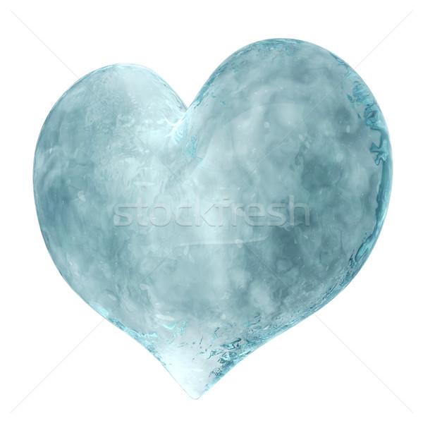 Foto stock: 3D · coração · gelo · isolado · branco · amor