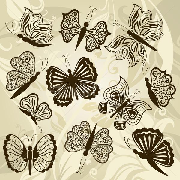 Pillangó forma terv elemek izolált bézs Stock fotó © lenapix