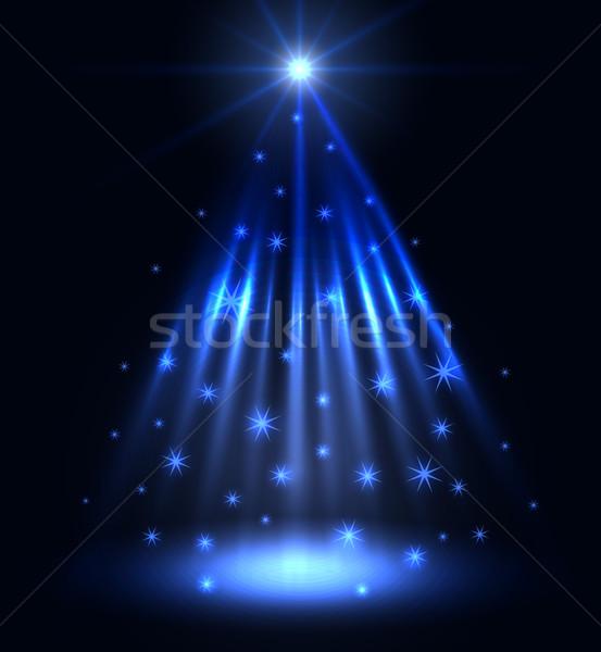 Streszczenie niebieski Spotlight christmas wektora świetle Zdjęcia stock © lenapix