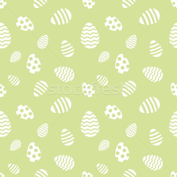 Naadloos groene witte paaseieren vector patroon Stockfoto © lenapix