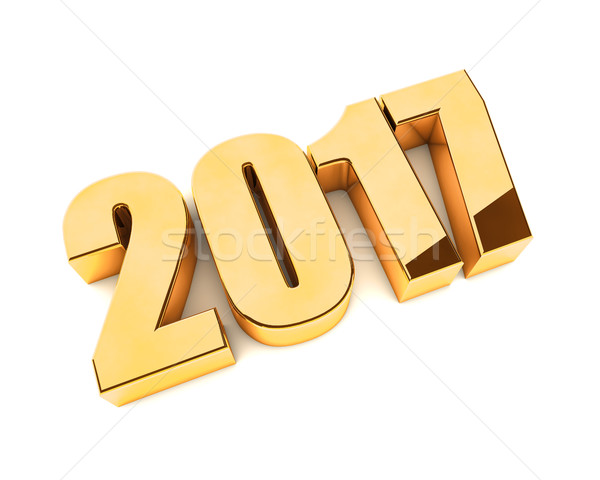 Stock photo: New 2017 year golden 3D figures isolated on white background.