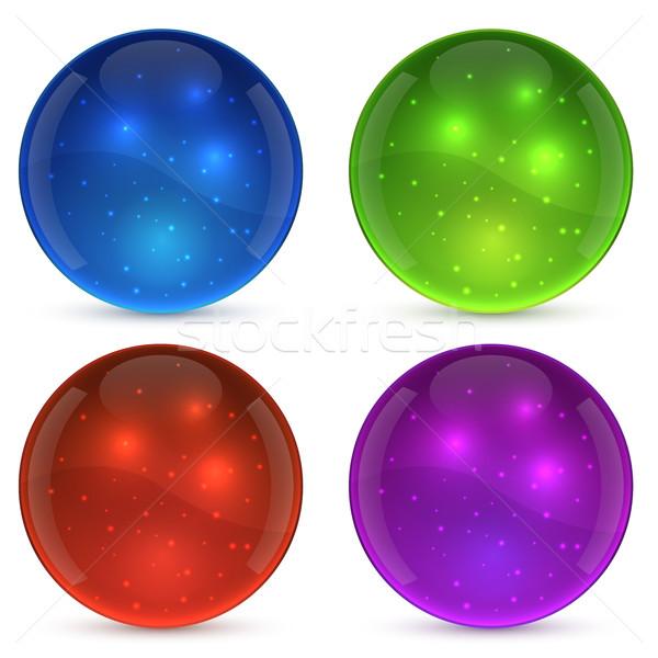 Colore lucido vetro palla isolato bianco Foto d'archivio © lenapix