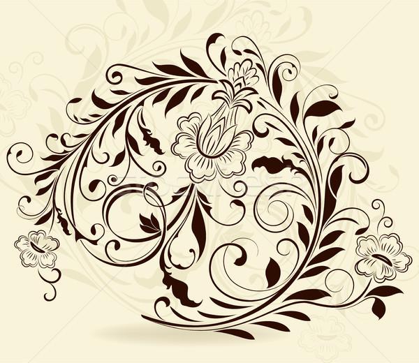 Klasszikus virágmintás dizájn elem izolált bézs virág Stock fotó © lenapix