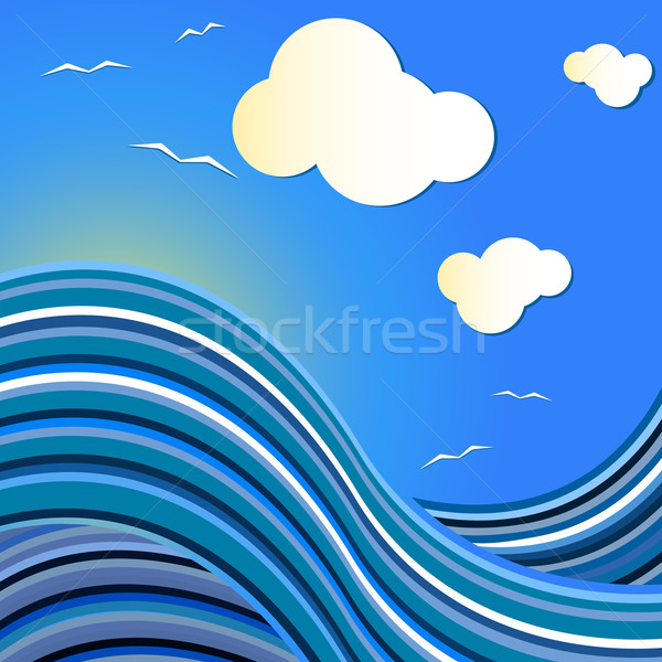 Blue sea vector drawing with flying gulls. Stock photo © lenapix