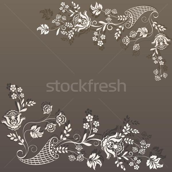 Retro brown flower design vector card template. Stock photo © lenapix