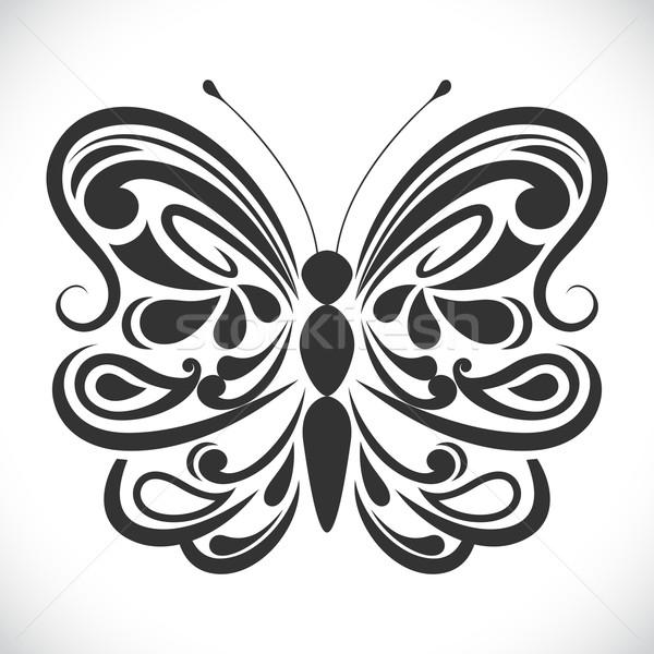 Bianco nero farfalla vettore abstract Foto d'archivio © lenapix