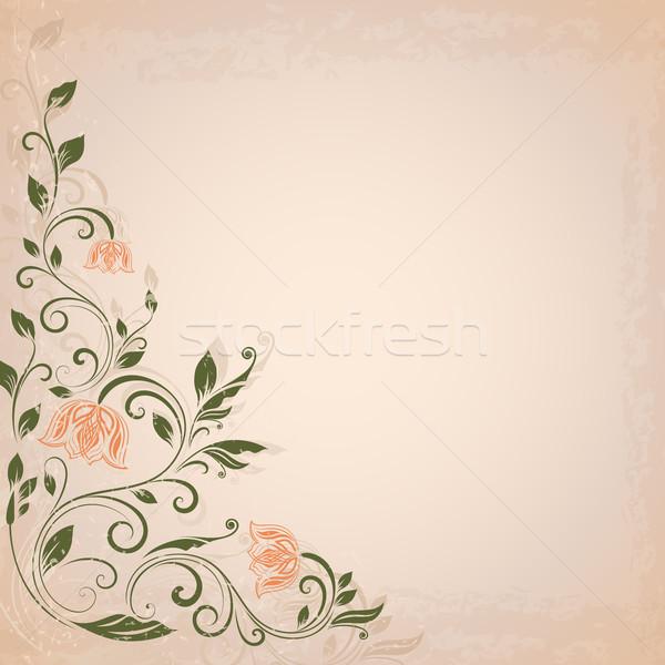Abstract bloem vintage vector beige exemplaar ruimte Stockfoto © lenapix