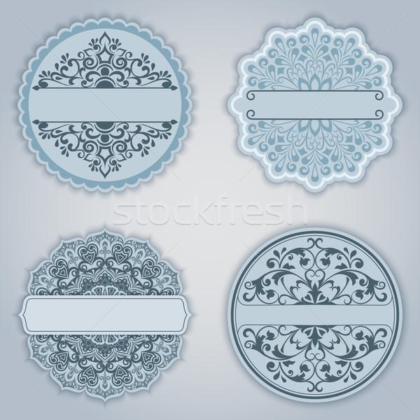 Vintage winter ornate vector labels set with copy space. Stock photo © lenapix