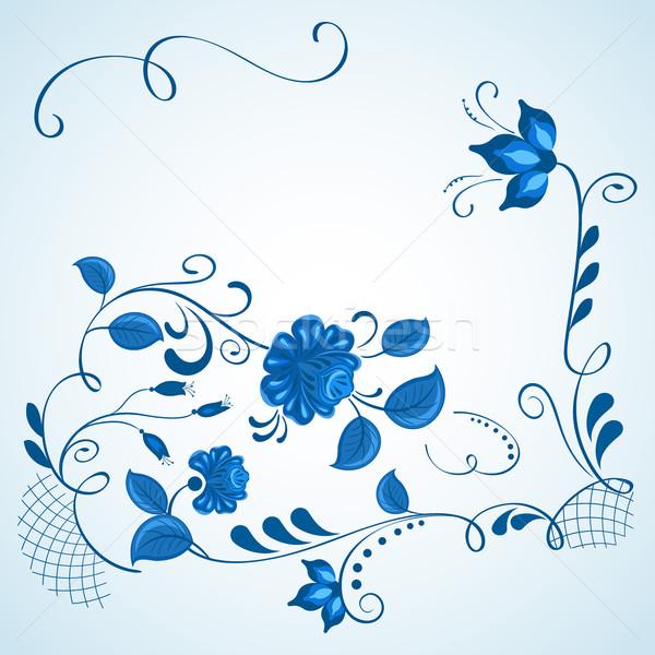 синий белый стиль вектора копия пространства цветок Сток-фото © lenapix