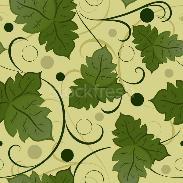Stock photo: Seamless green leaves vector pattern.