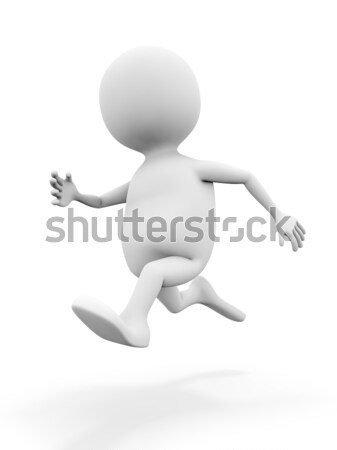 3D white man running isolated on white background. Stock photo © lenapix