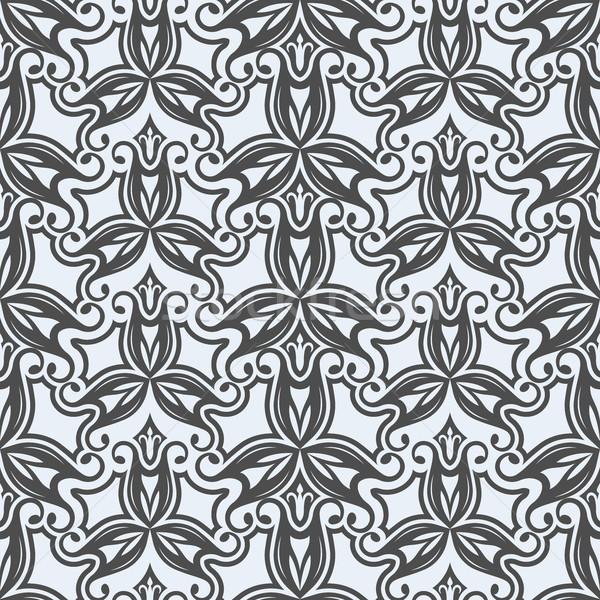 бесшовный черно белые цветочный вектора шаблон цветок Сток-фото © lenapix