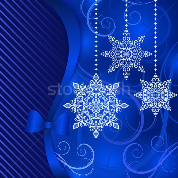 Christmas Blauw opknoping sneeuwvlok Stockfoto © lenapix
