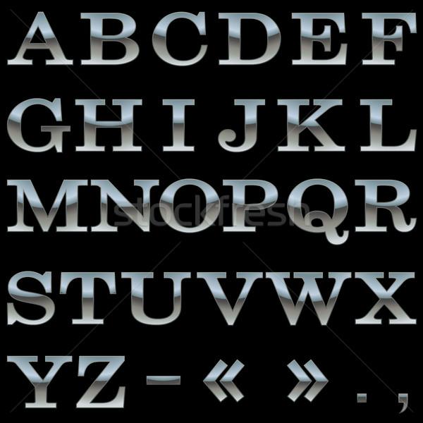 Acél ábécé vektor sablon izolált fekete Stock fotó © lenapix