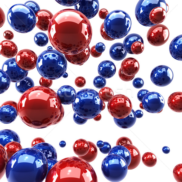 Stock photo: Red and blue glossy spheres background.