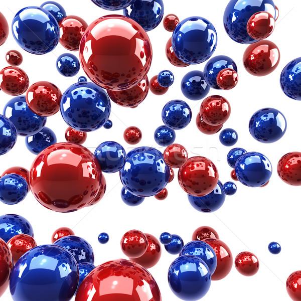 Rosso blu lucido sfere luce tecnologia Foto d'archivio © lenapix