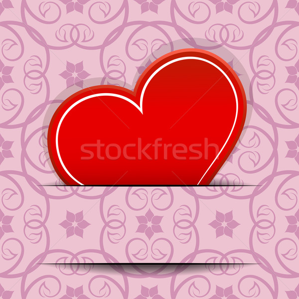 Red heart inserted in paper cut vector card with copy space.  Stock photo © lenapix