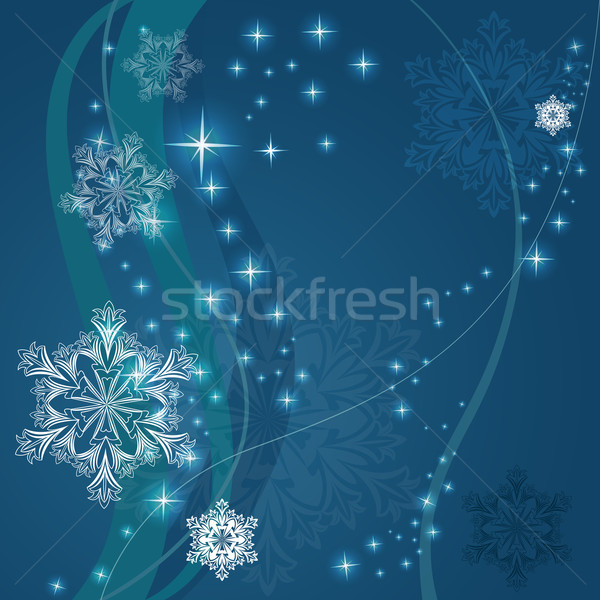 Christmas blue background with ornamental snowflake shapes. Stock photo © lenapix