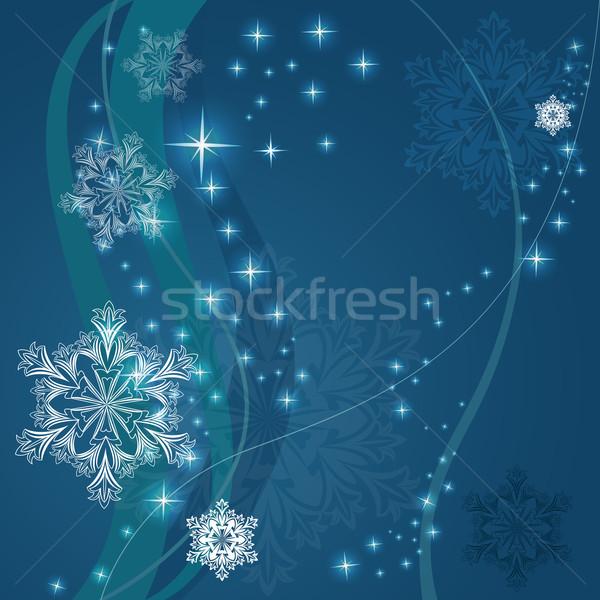 Natale blu fiocco di neve forme design Foto d'archivio © lenapix