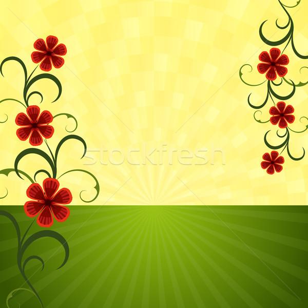 Absztrakt nyár horizont piros virágok virág tavasz Stock fotó © lenapix