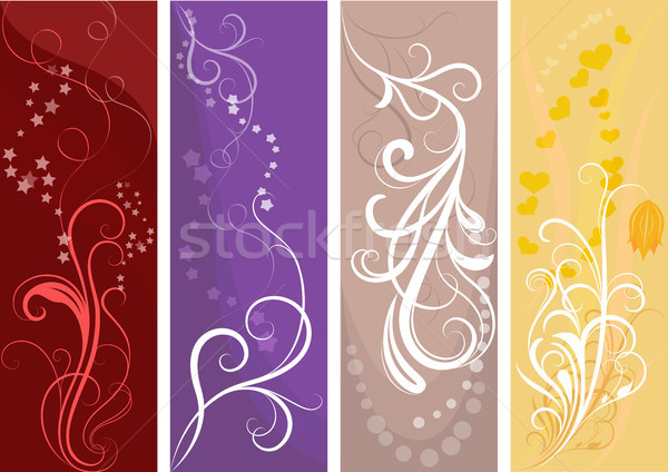 Color vertical vector banners with floral design. Stock photo © lenapix