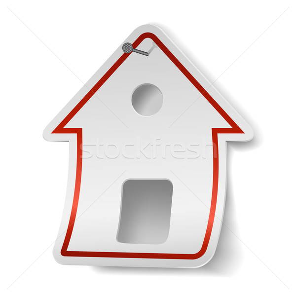 House shaped white label nailed to the wall. Stock photo © lenapix