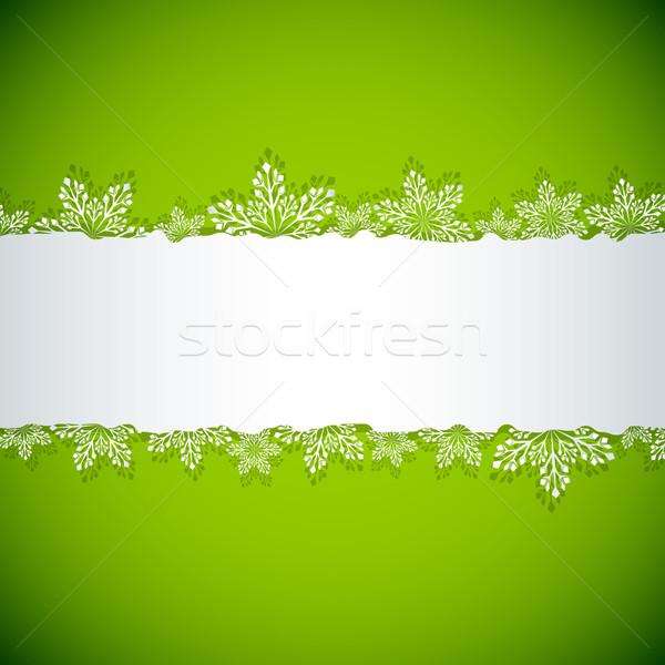 Abstract green Christmas snowflake stripe vector background. Stock photo © lenapix