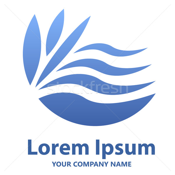 Abstract blue wavy emblem or logo design vector template. Stock photo © lenapix