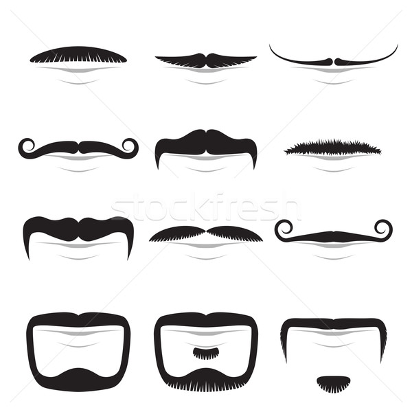 Moustache shapes vector set isolated on white background. Stock photo © lenapix
