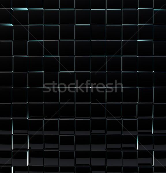 Fekete üveg kockák fal terv háttér Stock fotó © lenapix