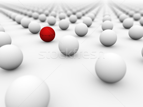 Red ball surrounded by white ones with the focus on it. Stock photo © lenapix