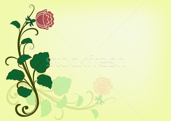 Foto stock: Vetor · cartão · rosa · canto · ornamento · amarelo