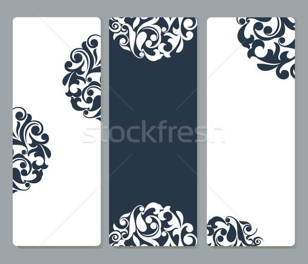 Kaarten hoeken vector sjabloon ingesteld Stockfoto © lenapix