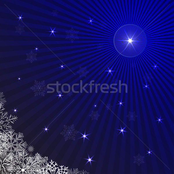 Blue rays Christmas background with snowflakes. Stock photo © lenapix