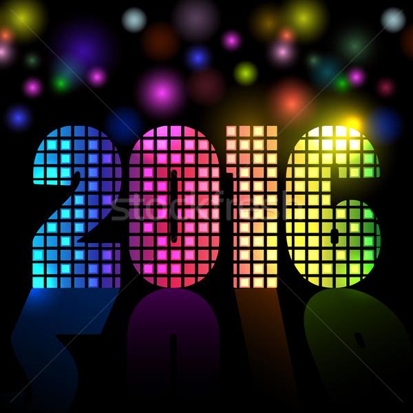 Nieuwe 2016 jaar disco kleurrijk mozaiek Stockfoto © lenapix