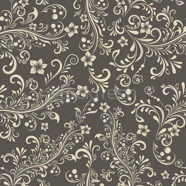 Seamless dark beige floral vintage vector pattern. Stock photo © lenapix