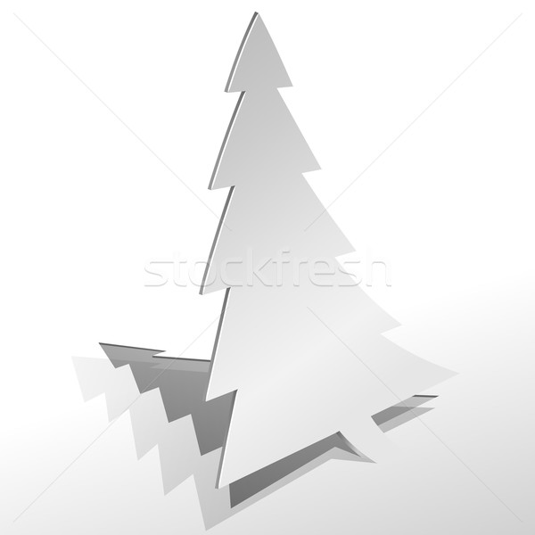 Curled paper Christmas tree cut from sheet of paper vector illus Stock photo © lenapix