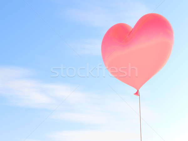 Heart shaped red balloon with blue sky background. Stock photo © lenapix