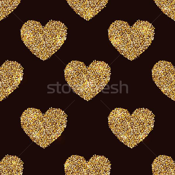Senza soluzione di continuità cuore forme oro nero san valentino Foto d'archivio © lenapix