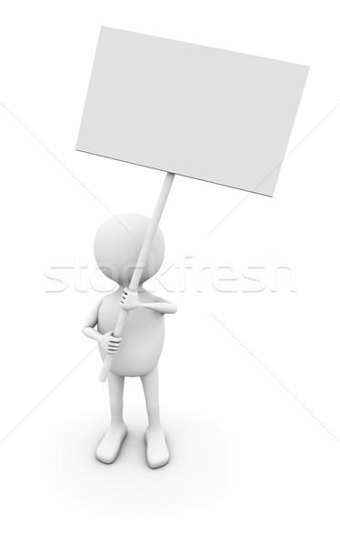 3D white man holding blank sign board isolated o white backgroun Stock photo © lenapix