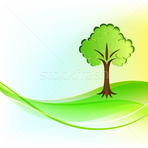 Zöld fa hullámos vektor fa terv levél Stock fotó © lenapix